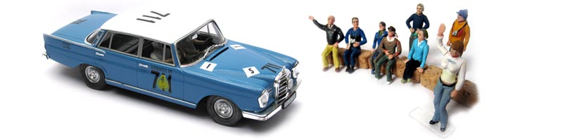 Mercedes slot car with 1/32 scale crowd figures