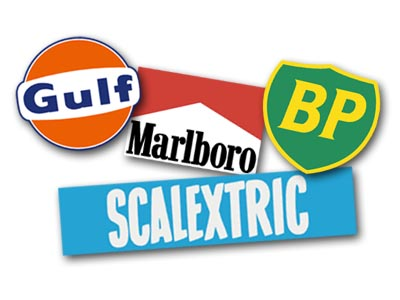 Gulf, Marlboro, BP and Scalextric logos