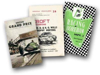 Racing programme covers from airfield race tracks