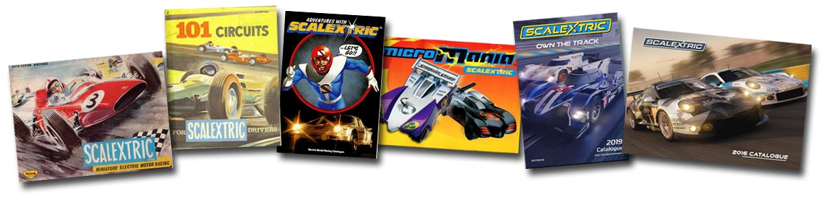A group of Scalextric catalogues