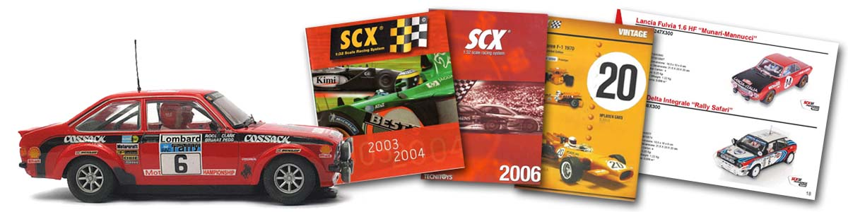SCX Ford Escort, and SCX catalogue pages