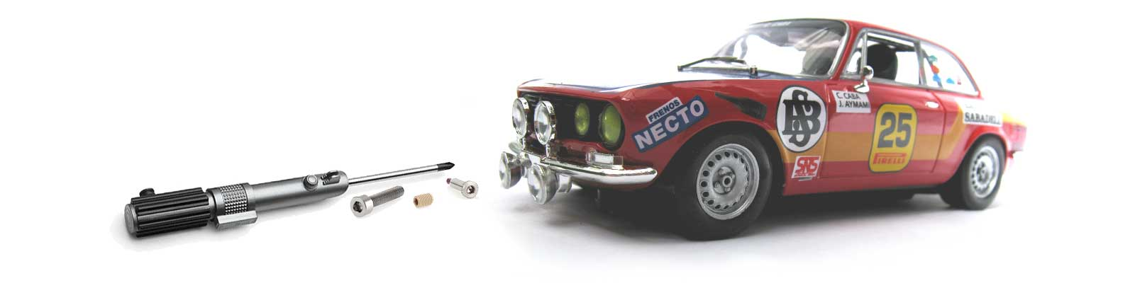 Fly Alfa GT slot car with screwdriver