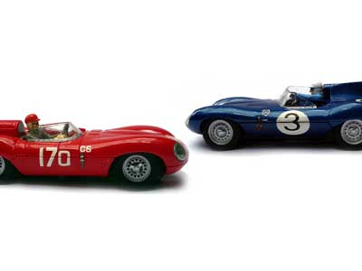 Two Jaguar D-Type slot cars