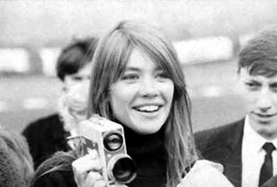 Françoise Hardy with a cine camera