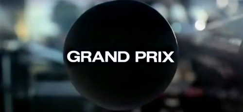 Film title, Grand Prix written inside an exhaust pipe