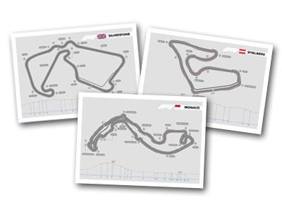 Silverstone, Spielberg, and Monaco F1 track plans