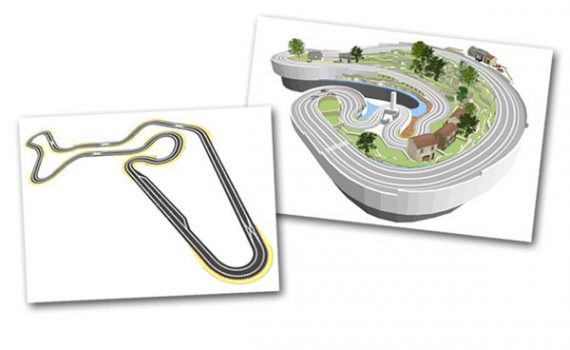 Track plans of a Scalextric digital layout, and an routed wooden track