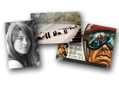 Francoise Hardy, cars on the Monza banking, and a movie poster from Grand Prix
