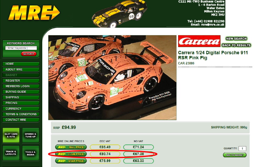 MRE website screenshot showing the pricing structure