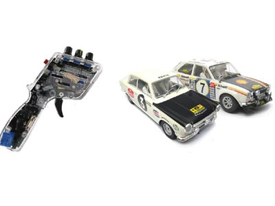 Two Scalextric Ford slot cars and a hand throttle