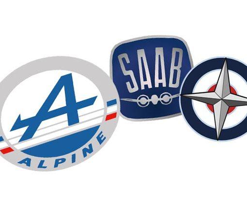 Alpine, SAAB, and BRM logos