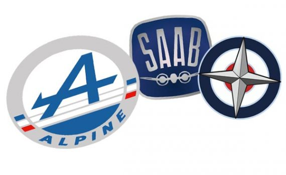 Alpine, SAAB, and BRM logos