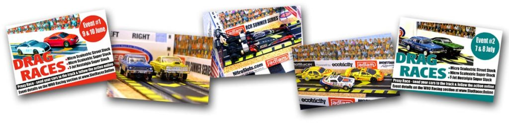 Scenes from, and posters for  the HO drag racing proxy series