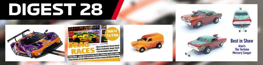 Digest 28 features Scalextric, Carrera, HO Drag Proxy, and Hot wheels