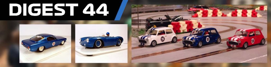 Digest #44, Mustand 2+2, Porsche 550, and three minis on track