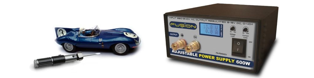 Power supply and Jaguar D-type slot car