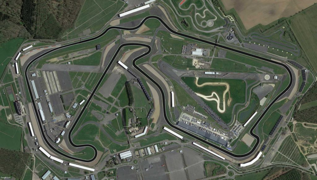 Silverstone aerial phot with the modern track highlighted