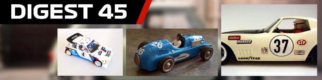 Digest 45, Peugeot, Tucker, and Corvette slot cars