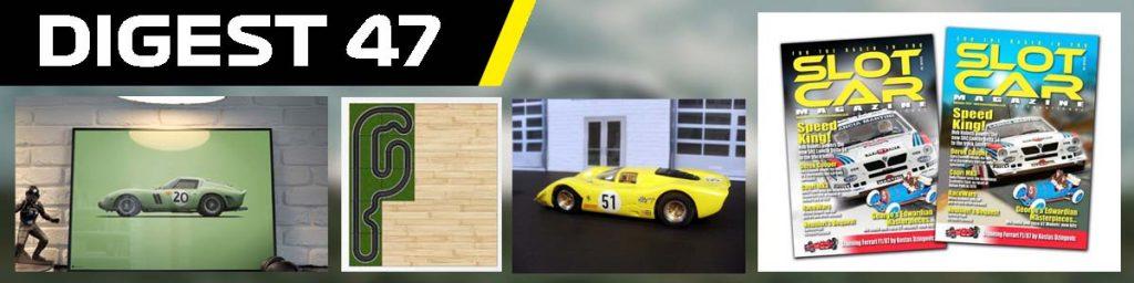 Digest 47. Ferrari poster, track plan, Ferrari 312, and Slot Car magazine covers