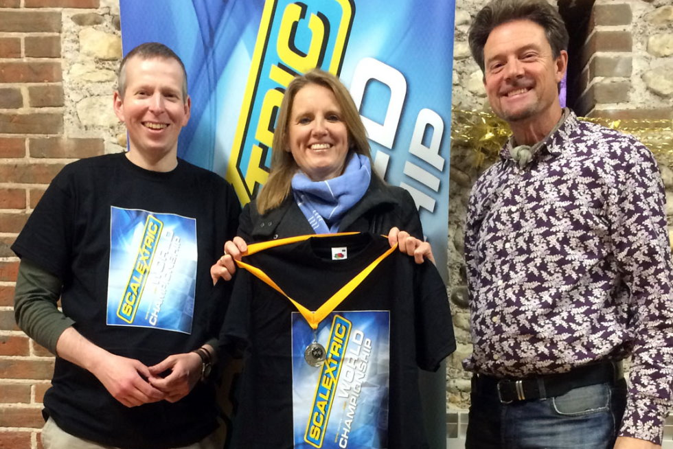 The 2014 Scalextric World Chamionship race podium