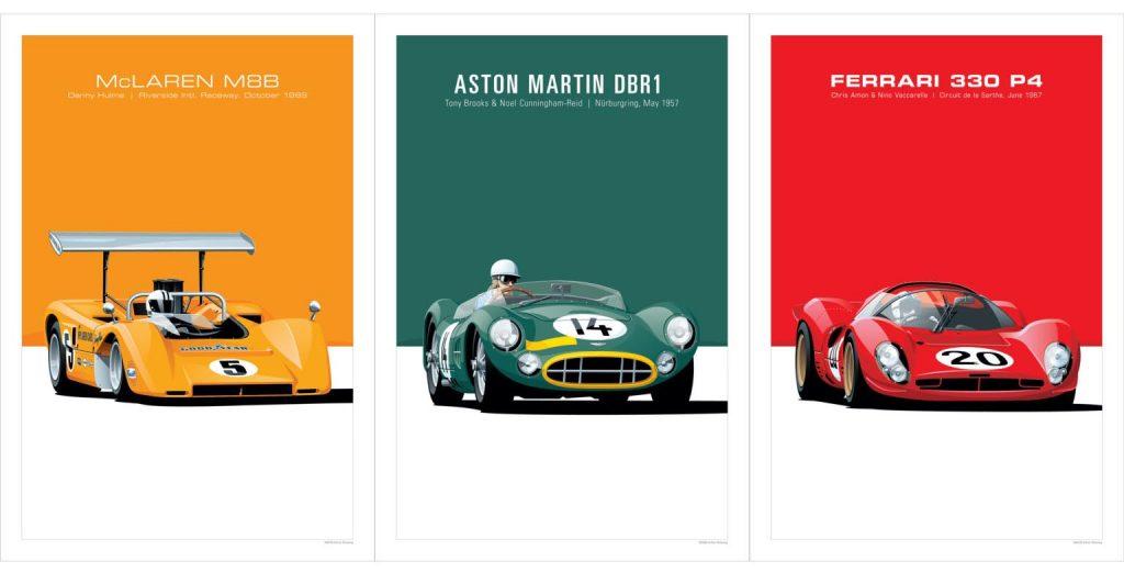 Arthur Schening prints, McLaren, Aston Martin, and Ferrari