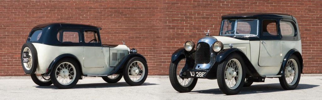 A Swallow bodied Austin 7 in two tone black and white