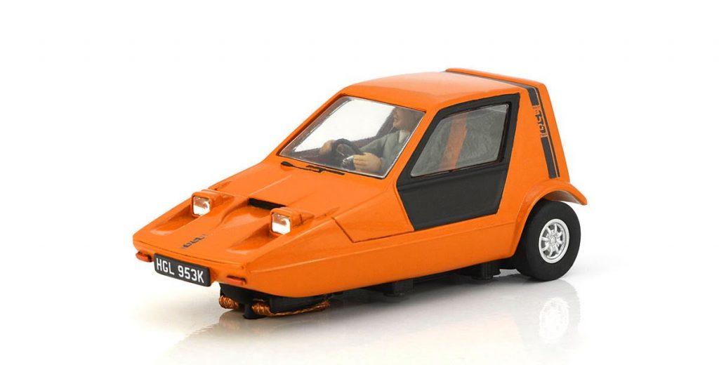 Bright orange Bond Bug Three-Wheeler