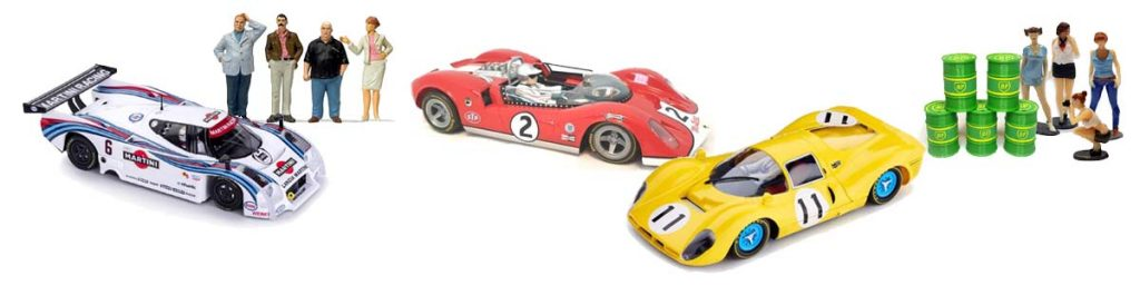 Slot cars from Slot.it, Thunderslot and Scalextric, plus figures from Preiser and Wasop