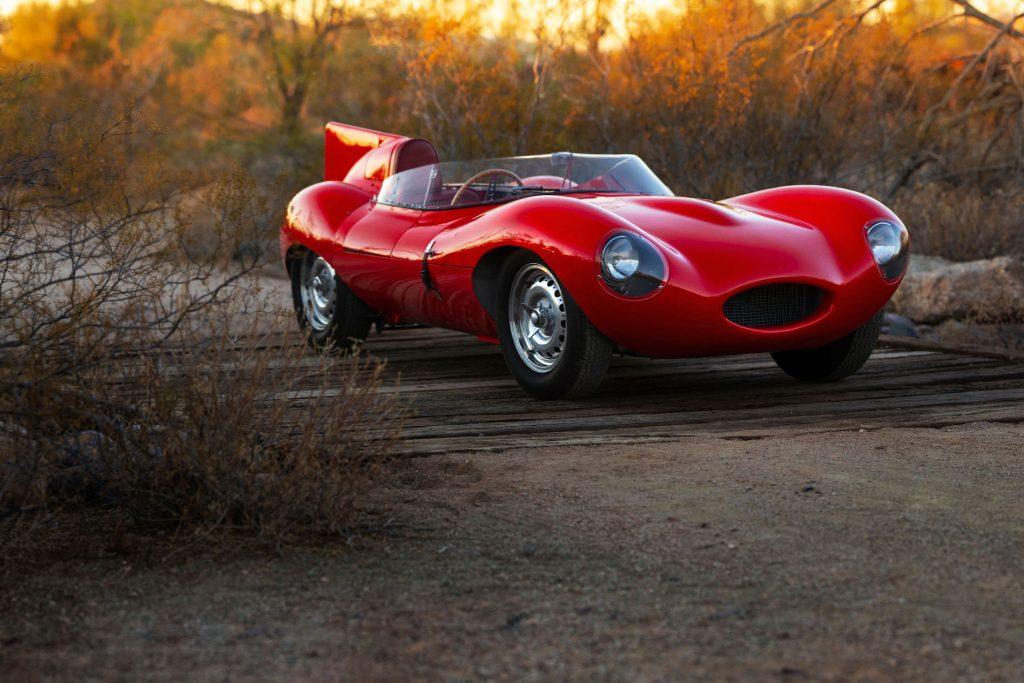 A red Jaguar D-Type