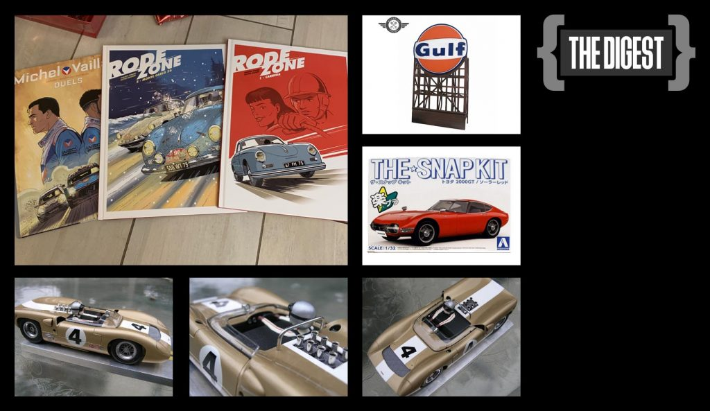 The Digest, Motor sports comics, Gulf billboard, Toyota GT kit, and AMT Lola scratch build