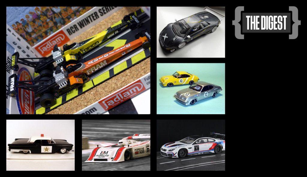HO Drag racers, Black Arrow, Vauxhall Firenza, police car and Porsche 917