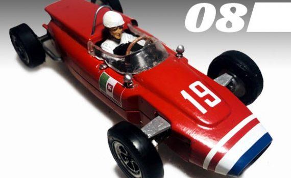 #8, red Cooper slot car