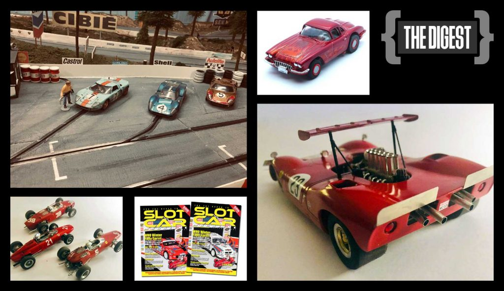 The Digest, with a scenic slot track, four Ferraris, an HO dragster, and two magazines
