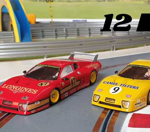 Two Ferrari 512BBs in red and yellow