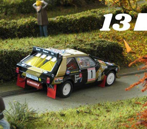 #13, SRC Lancia Delta S4, on a scenic slot track