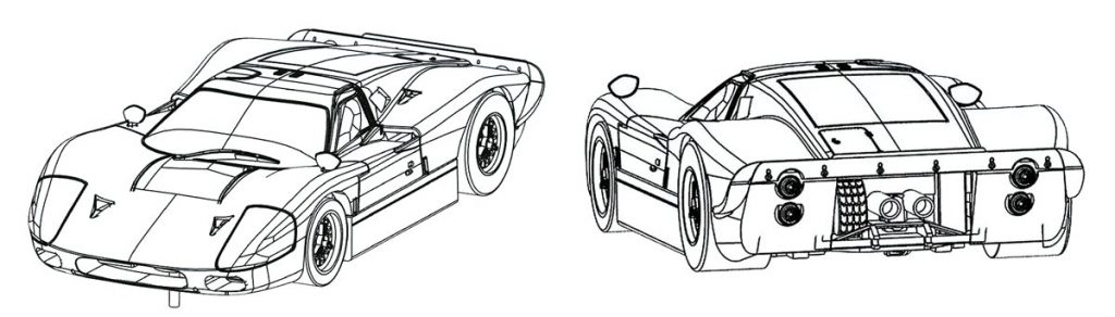 Technical drawing of the AFX Racemasters Ford MkIV
