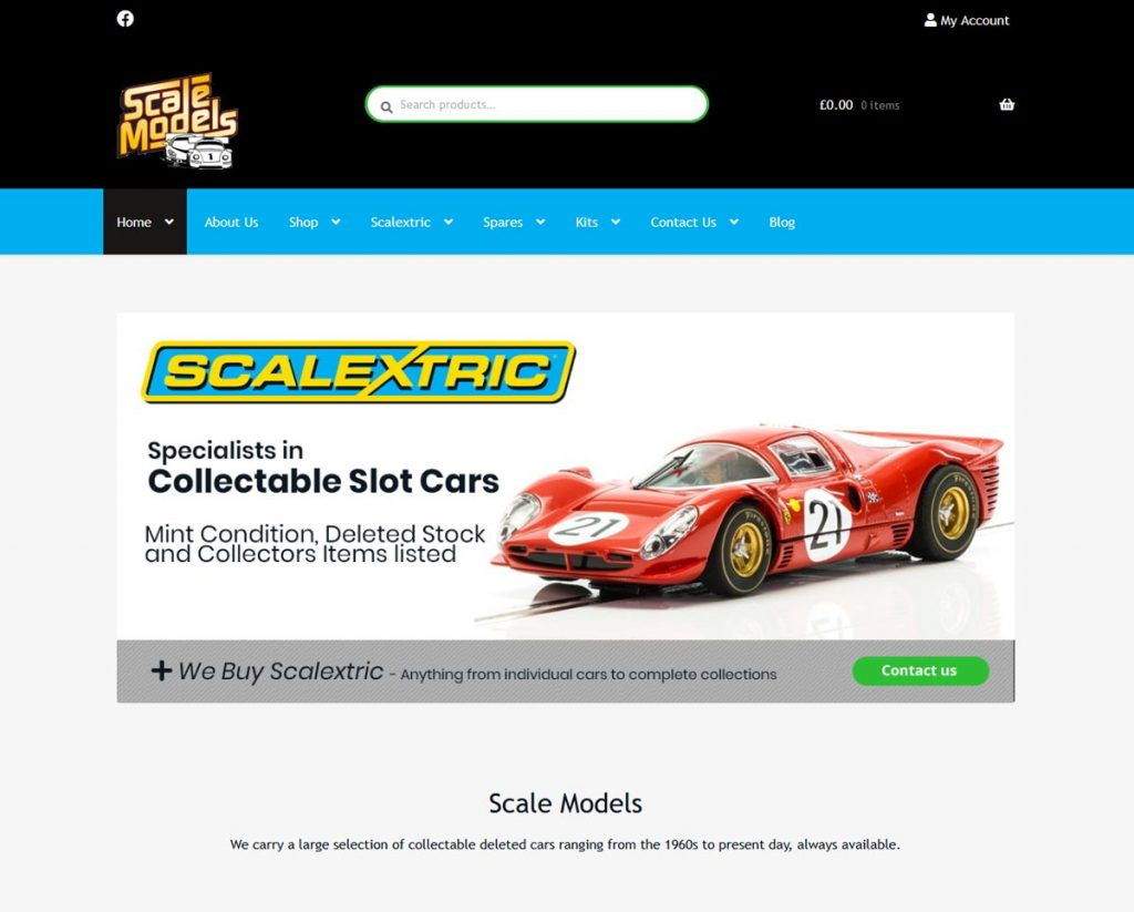 Web page with Scale Models logo and a red Scalextric ferrari