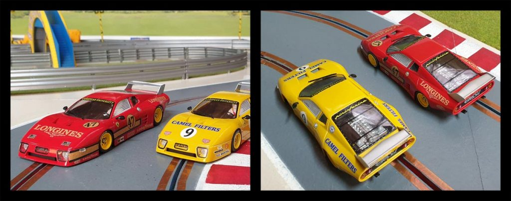 Red and yellow Sideways Ferrari 512BB LM slot cars on track