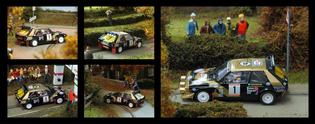 Photos of SRC's Lancia Delta S4 on a recreation of an utumnal rally track based around an English village