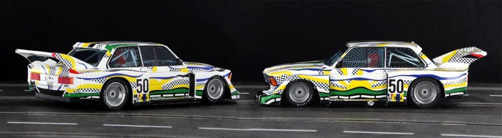 Two views of the Lichtenstein comic art BMW 320