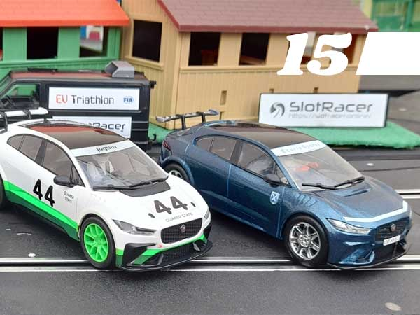#15, Scalextric Jaguar I-Pace cars on a slot track