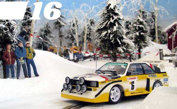 Audi rally car on a snow covered slot track