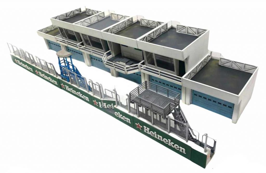 Magnetic Racing model pit wall and pit buildings