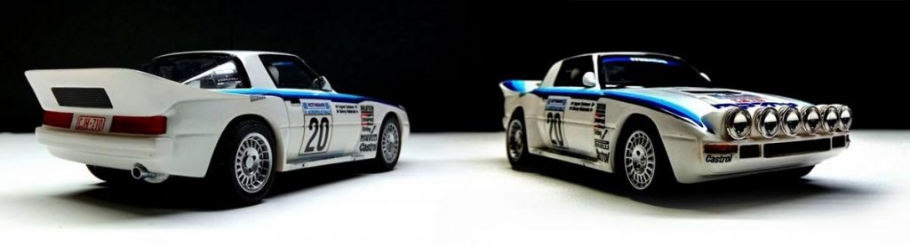 Mazda RX7 slot car in white with light and dark blue stripes