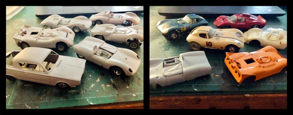 Strombecker slot cars, in the process of being built and painted