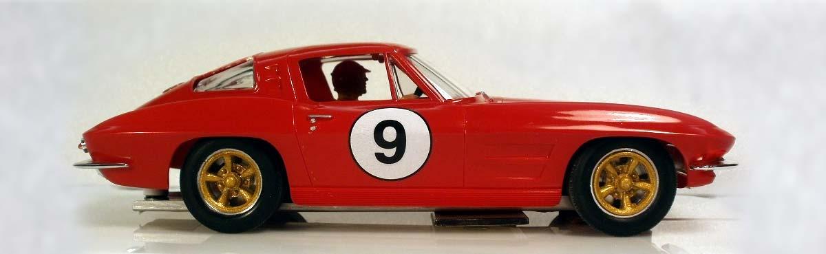 Red, split window Corvette Stingray model