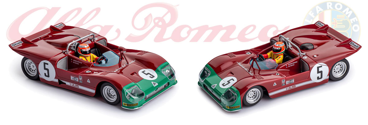 Slot.it Alfa Romeo Tipo 33 model in burgundy and green