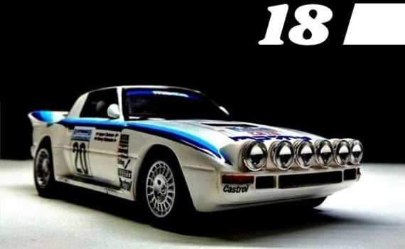 #18, Mazda RX7 in white and blue livery
