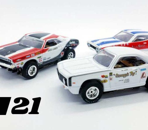 Three HO drag racing cars