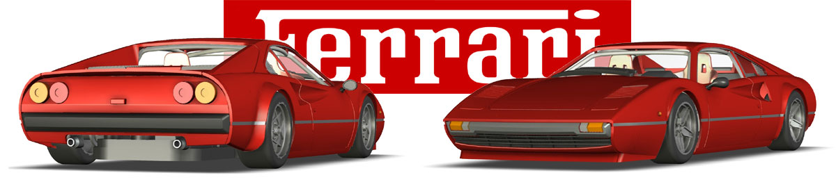 3D CAD renderings of Avant Slot's Ferrari 308 GTB